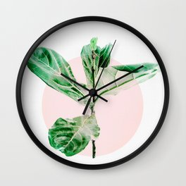 Fiddle leaf - pink pot II Wall Clock