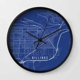 Billings Map, USA - Blue Wall Clock