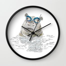 Hippo with swimming goggles Wall Clock