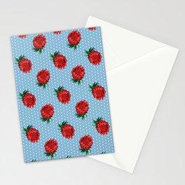 Beautiful Protea Pattern - White Polka Dots on Blue - Australian Native Flowers Stationery Cards