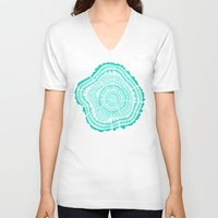 tree rings V-neck T-shirts featuring Turquoise Tree Rings by Cat Coquillette