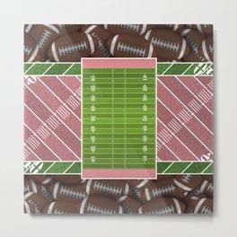 Pink Football Field and Footballs Metal Print