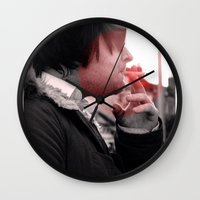 smoking Wall Clocks featuring Smoking by Michael Larkin