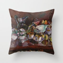 Anton Faistauer - Still Life with Coffee Cups (1912) Throw Pillow