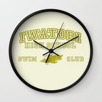 iwatobi Wall Clocks featuring Iwatobi - Penguin by drawn4fans