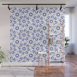 Pattern of wreaths of blue leaves Wall Mural
