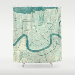 New Orleans Map Blue Vintage Shower Curtain