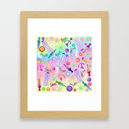 Psychedelic 70s Groovy Collage Pattern Framed Art Print