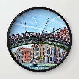 Ponte dell' Accademia Bridge In Venice, Italy Wall Clock
