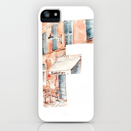 Letter F on white background with French street drawing by watercolor. iPhone Case