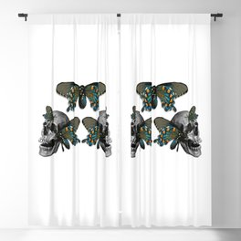 Butterflies on Skulls #1 Blackout Curtain