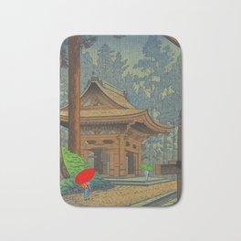 Asano Takeji Japanese Woodblock Print Vintage Mid Century Art Shinto Shrine Forest Bath Mat