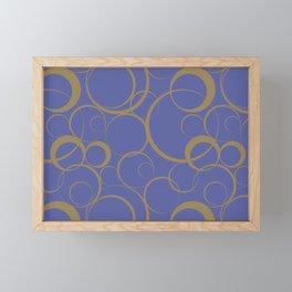 Dark Blue and Brown Funky Ring Pattern V42 Accent Shades To Pantone 2021 Colors of the Year Framed Mini Art Print