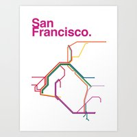 san francisco map Art Prints featuring San Francisco Transit Map by Ariel Wilson