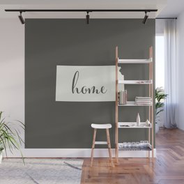 Kansas is Home - White on Charcoal Wall Mural