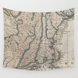 Vintage Map of The New England Coast (1747) Wall Tapestry