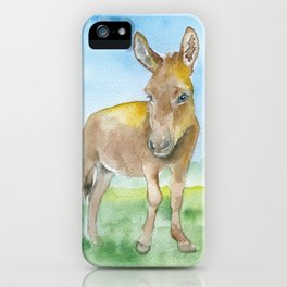 Donkey Watercolor Painting iPhone Case