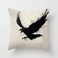 raven Throw Pillows featuring Raven by Nicklas Gustafsson