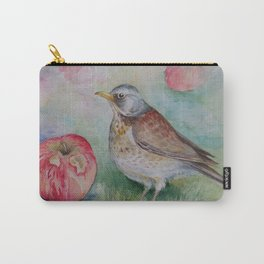 Fieldfare Bird with red apple Wildlife Songbird Illustration Carry-All Pouch
