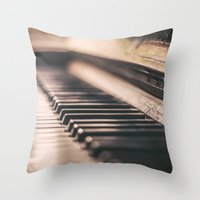 piano Throw Pillows featuring Piano by Juste Pixx Photography