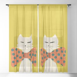 Cat with incredebly oversized humongous bowtie Sheer Curtain
