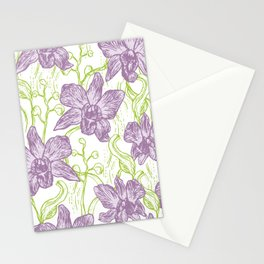 Orchid flowers. Hand drawn on white background olive Green pink purple contour sketch Stationery Cards