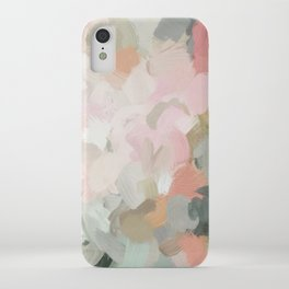 Forest Green Fuchsia Blush Pink Abstract Flower Spring Painting Art iPhone Case