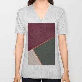 Burgundy Olive Green Gold and Nude Geometric Pattern #society6 #buyart Unisex V-Neck