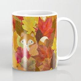 Foxes Hiding in the Fall Leaves - Autumn Fox Coffee Mug