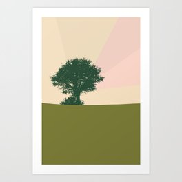 Trichromatic landscape Tree and a bird Art Print