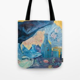 Harmonie en Bleu (Harmony in Blue) fans, china, flowers, shoes and shimmering clothes by James Ensor Tote Bag
