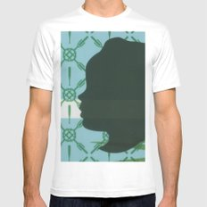 Lawn study 3 MEDIUM White Mens Fitted Tee