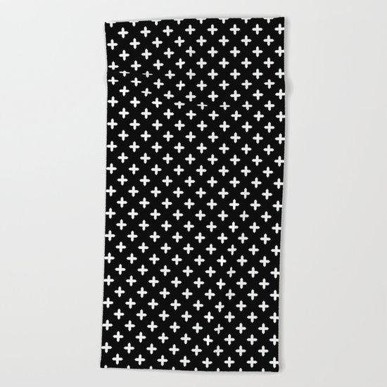 Simple Scandinavian black and white pattern . Beach Towel