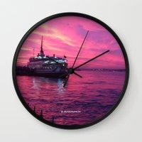 istanbul Wall Clocks featuring İSTANBUL by Şemsa Bilge (Semsa Fashion)