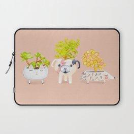 Kawaii dog cat hedgehog succulents Laptop Sleeve