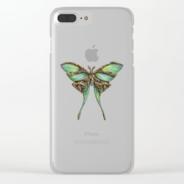 Steampunk Green Luna Moth Clear iPhone Case