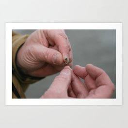 Weathered hands tie on a fly Art Print