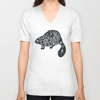 beaver V-neck T-shirts featuring That's a Nice Beaver by Matthew Price