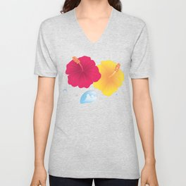 Hibiscus and Thunderhead reflected in a Drop of water_YR Unisex V-Neck