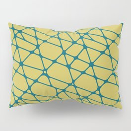 Tropical Dark Teal Abstract Mosaic Pattern 2 Inspired by Sherwin Williams 2020 Trending Color Oceanside SW6496 on Dark Yellow Pillow Sham