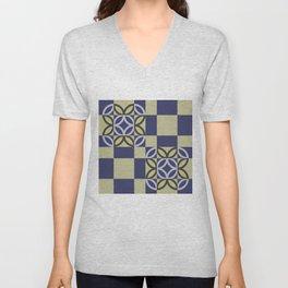 Checkered Circles Pattern Unisex V-Neck