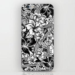 Snaky Fleur, Black 'n White iPhone Skin