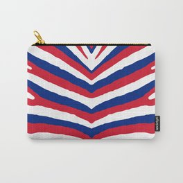 UK British Union Jack Red White and Blue Zebra Stripes Carry-All Pouch