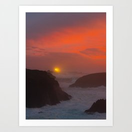 Late Sunset at Point Cabrillo Light station in Mendocino Art Print