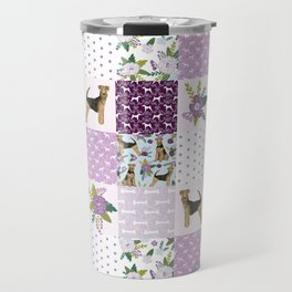 Airedale Terrier pure breed cheater quilt pattern dog lovers by pet friendly Travel Mug