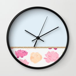Duck egg blue peony Wall Clock