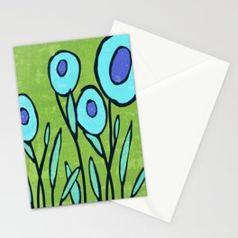 Hippie Flower Garden turquoise and avocado Stationery Cards
