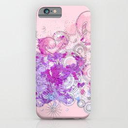 Purple floral swirls iPhone Case