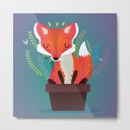Fox in the pot Metal Print