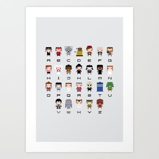 Doctor Who Alphabet Art Print